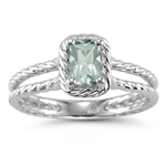 0.36 Cts Green Amethyst Solitaire Ring in 14K White Gold