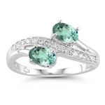 0.15 Cts Diamond & 0.66 Cts Green Amethyst Ring in 14K White Gold