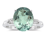 0.03 Cts Diamond & 3.99 Cts Green Amethyst Ring in 14K White Gold