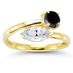 0.81 Ct White Sapphire & 0.72 Ct Black Diamond Ring in 14K Yellow Gold