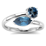 1.33 Cts London Blue Topaz Ring in 14K Yellow Gold