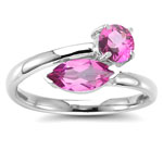 1.33 Cts Mystic Pink Topaz Ring in 14K White Gold
