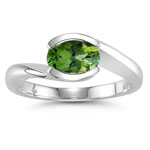 1.18 Cts Green Tourmaline Solitaire Ring in 14K White Gold