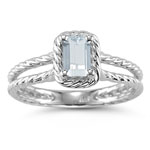 0.49 Ct 6x4 mm AA Emerald Sky Blue Topaz Solitaire Ring-14K White Gold