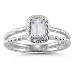 0.49 Cts White Topaz Solitaire Ring in 14K White Gold