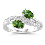 0.15 Cts Diamond & 0.78 Cts Green Tourmaline Ring in 14K White Gold