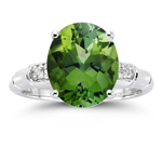 0.03 Cts Diamond & 4.75 Cts Green Tourmaline Ring in 14K White Gold