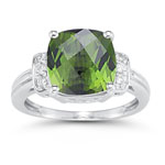 0.09 Cts Diamond & 3.56 Cts Green Tourmaline Ring in 14K White Gold