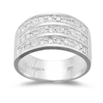 0.45 Cts Diamond accented Three Row Band in 18K White Gold