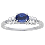 1/2 Cts of 6x4 mm AA Oval Blue Sapphire Solitaire Ring in 14K White Gold