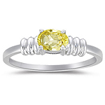 1/2 Cts of 6x4 mm AA Oval Yellow Sapphire Solitaire Ring in 14K White Gold
