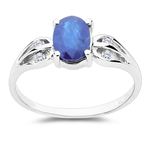 0.08 Cts Diamond & 1.01 Cts Sapphire Ring in 10K White Gold