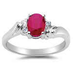 Ruby Ring - 0.02 Ct Diamond & Ruby Ring