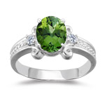0.10 Cts Diamond & 1.80 Cts Green Tourmaline Ring in 14K White Gold