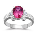 0.10 Cts Diamond & 2.03 Cts Pink Topaz Ring in 14K White Gold