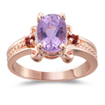 1.95 Ct AAA Kunzite & Pink Tourmaline Three Stone Ring in 14K Pink Gold