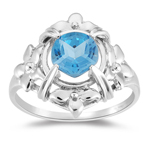 1.50 Cts 7 mm AAA Texas Star Cut Swiss Blue Topaz Ring in 10K White Gold
