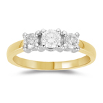 0.70-0.75 Cts  SI2 - I1 clarity and I-J color Diamond Three Stone Ring in 18K Yellow Gold