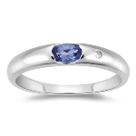0.01 Cts Diamond & 0.24 Cts of 5x3 Oval AA Tanzanite Ring in 14K Gold