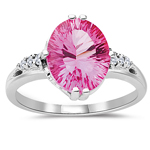0.07 Cts Diamond & 3.97 Cts Oval Mystic Pink Topaz Ring in 10K White Gold