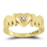 0.01 Ct Diamond Mom Ring in 14K Yellow Gold