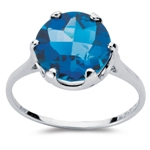 4.01 Cts of 10 mm AA Round Checker Board Blue Topaz Solitaire Ring in 10K White Gold