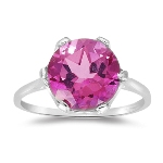 4.01 Ct 10 mm AAA Round Mystic Pink Topaz Solitaire Ring-10K White Gold