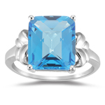 6.07 Ct 12x10 mm AA Emerald Check Swiss Blue Topaz Ring-10KW Gold