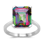 5.89 Cts of 12x10 mm AA Emerald Mystic Fire Topaz Solitaire Ring in 10K White Gold