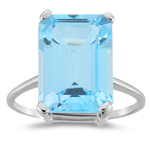 8.50 Cts of 14x10 mm AA Emerald-Cut Swiss Blue Topaz Solitaire Ring in 14K White Gold