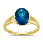 2.95 Cts of 10x8 mm AAA Oval London Blue Topaz Ring in 14K Yellow Gold
