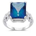 6.50 Cts of 12x10 mm AAA Neptune Garden Mystic Topaz Ring in 10K Gold