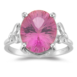 12x10 mm AA Oval Mystic Pink Topaz Ring in 10K White Gold
