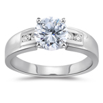 0.90 Cts Diamond Engagement Ring with Side-Stones in 18K White Gold.