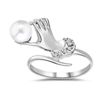 Pearl Ring - 0.035 Ct Diamond & 6mm Fresh Water Pearl Hand Ring