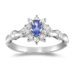 0.25 Cts Diamond & 0.45 Cts AA Tanzanite Cluster Ring in 14K Gold