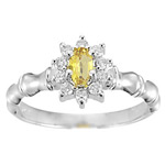 0.50 Cts Diamond & Yellow Sapphire Cluster Ring in 14K White Gold