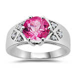 0.06 Cts Diamond & 2.12 Cts AAA Pure Pink Topaz Ring in 10K White Gold