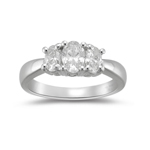 0.32 Cts Diamond & 1.38 Cts White Sapphire Ring in Platinum