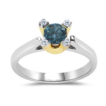 0.59 Cts Blue & White Diamond Ring in 10K Two Tone Gold