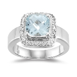 0.09 Cts Diamond & 1.94 Cts of 8 mm Cushion Checker Board Aquamarine Ring in 14K White Gold