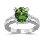 0.20 Cts Diamond & 1.80 Cts Green Tourmaline Ring in 14K White Gold