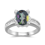 0.20 Cts Diamond & 2.03 Cts Mystic Fire Topaz Ring in 14K White Gold