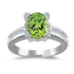 0.20 Cts Diamond & 2.00 Cts Peridot Ring in 14K White Gold