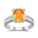 1.65 Ct Diamond & Spessartite (Mandarin) Garnet Ring in 14K White Gold