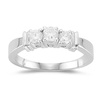 Three Stone Ring - 1/2 Ct Diamond Three Stone Ring in 18K White Gold