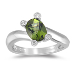 Green Tourmaline Ring - Diamond & Green Tourmaline Ring in 14K Gold