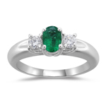 0.24 Cts Diamond & 0.34 Cts Natural Emerald Three Stone Ring in 18K White Gold