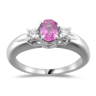 0.75 Cts Diamond & Pink Sapphire Three Stone Ring in 18K White Gold