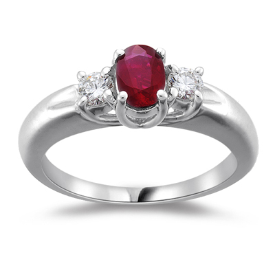 0.25 Cts Diamond & 0.50 Cts Ruby Three Stone Ring in 18K White Gold